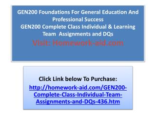 GEN200 Foundations For General Education And Professional Su