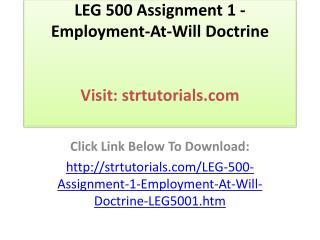 LEG 500 Assignment 1 - Employment-At-Will Doctrine