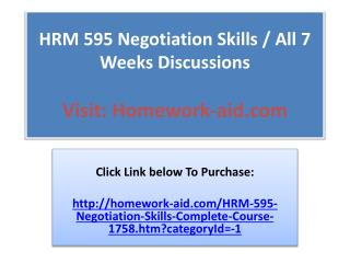 HRM 595 Negotiation Skills -Complete Course