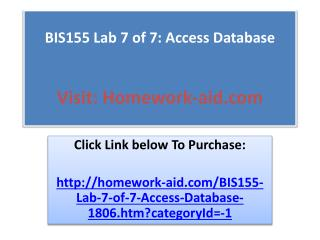 BIS155 Lab 7 of 7: Access Database