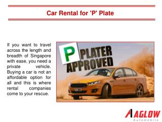 Car Rental for 'P' Plate