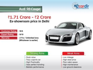 Audi R8 Coupe Prices, Mileage, Reviews and Images at Ecardlr
