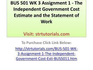 BUS 501 WK 3 Assignment 1 - The Independent Government Cost
