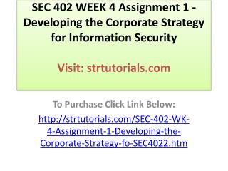 SEC 402 WEEK 4 Assignment 1 - Developing the Corporate Strat