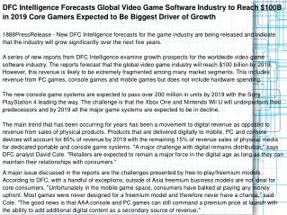 DFC Intelligence Forecasts Global Video Game Software