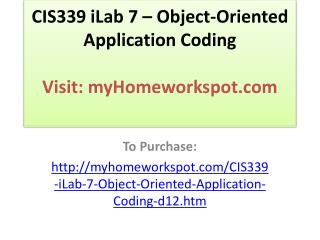 CIS339 iLab 7 – Object-Oriented Application Coding