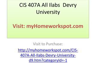 CIS 407A All Ilabs  Devry University