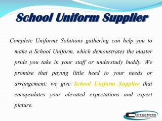 Leading Uniform Supplier and Manufacturer Company