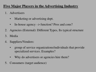 Five Major Players in the Advertising Industry