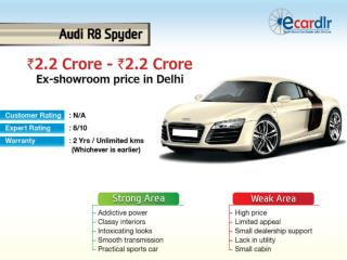 Audi R8 Spyder Prices, Mileage, Reviews and Images at Ecardl