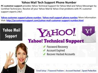 Yahoo Mail Tech Support Phone Number