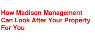 How Madison Management Can Look After Your Property For You