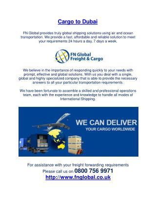 Cargo to Dubai -  Cargo Services in Dubai