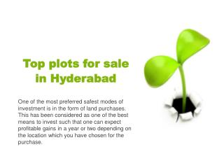 Top plots for sale in Hyderabad