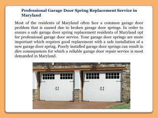 Professional Garage Door Spring Replacement Service