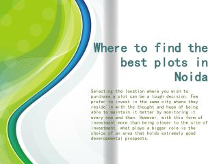 Where to find the best plots in Noida