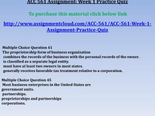 ACC 561 Assignment: Week 1 Practice Quiz