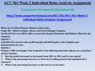 ACC 561 Week 2 Individual Ratio Analysis Assignment