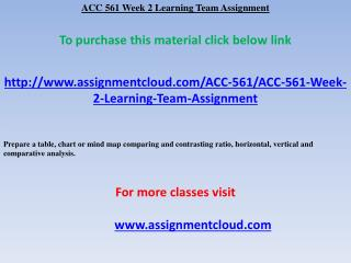 ACC 561 Week 2 Learning Team Assignment