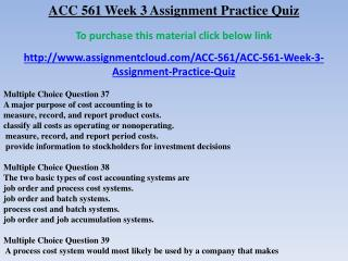 ACC 561 Week 3 Assignment Practice Quiz