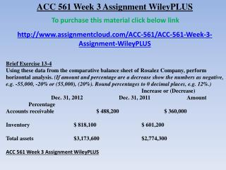 ACC 561 Week 3 Assignment WileyPLUS