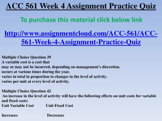 ACC 561 Week 4 Assignment Practice Quiz