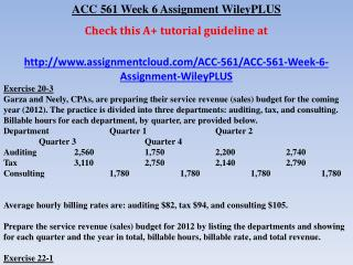 ACC 561 Week 6 Assignment WileyPLUS