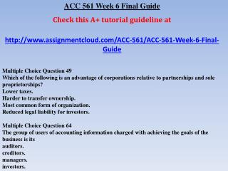 ACC 561 Week 6 Final Guide
