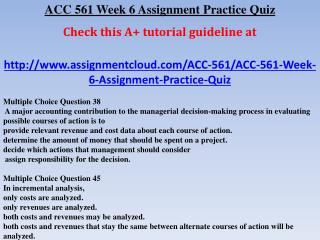 ACC 561 Week 6 Assignment Practice Quiz