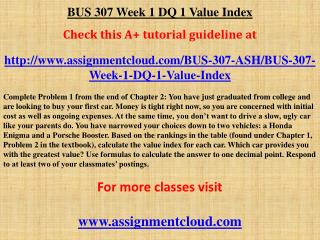 BUS 307 Week 1 DQ 1 Value Index