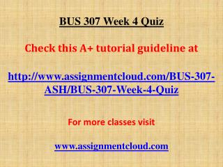 BUS 307 Week 4 Quiz