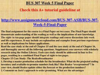 BUS 307 Week 5 Final Paper