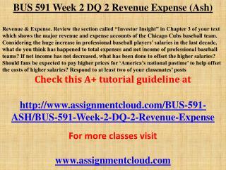BUS 591 Week 2 DQ 2 Revenue Expense (Ash)