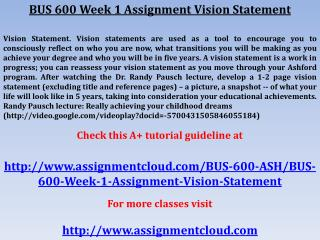 BUS 600 Week 1 Assignment Vision Statement