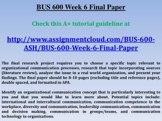 BUS 600 Week 6 Final Paper