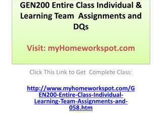 GEN200 Entire Class Individual & Learning Team  Assignments