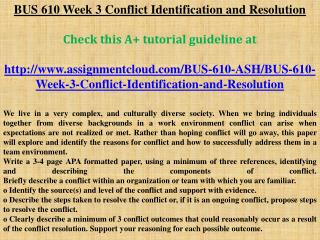 BUS 610 Week 3 Conflict Identification and Resolution