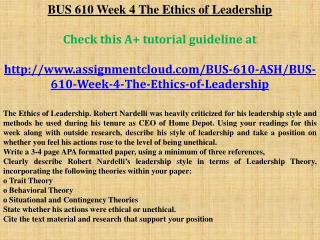 BUS 610 Week 4 The Ethics of Leadership