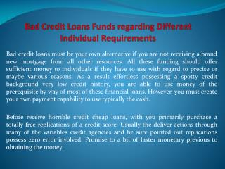 Bad Credit Loans Funds regarding Different Individual Requir