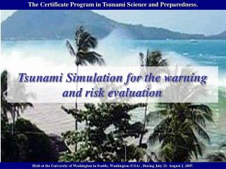 Tsunami Simulation for the warning and risk evaluation