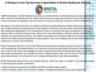 A Glimpse on the Top Services & Specialties of Bristol