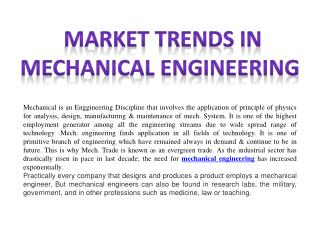 Market Trends In Mechanical Engineering