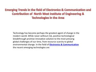 Emerging Trends in the field of Electronics & Communication