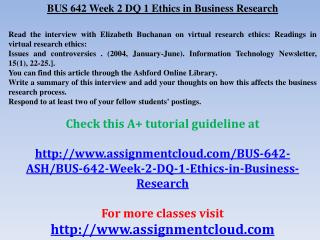BUS 642 Week 2 DQ 1 Ethics in Business Research