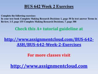 BUS 642 Week 2 Exercises
