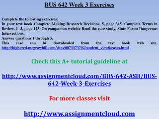 BUS 642 Week 3 Exercises