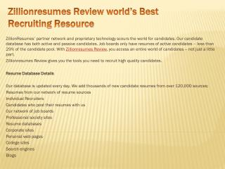 Zillionresumes Review world's Best Recruiting Resource