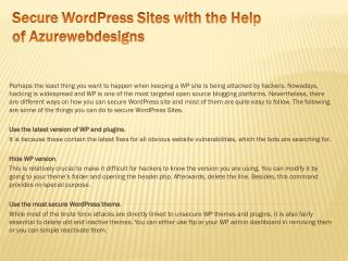 Secure WordPress Sites with the Help of Azurewebdesigns