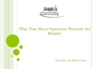 Why You Must Optimise Website for Mobile