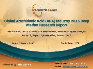 Global Arachidonic Acid (ARA) Industry Analysis, Growth,2015